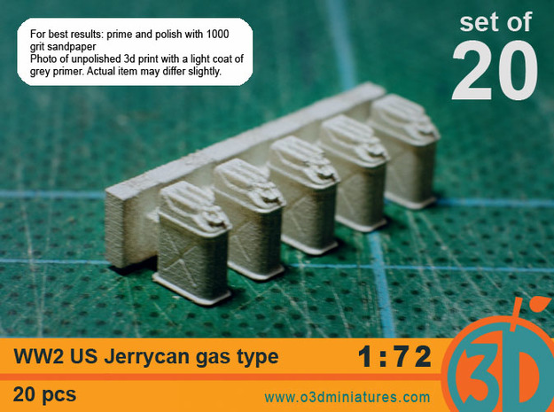 WW2 US gas Jerricans 1/72 scale pack of 20 in Smooth Fine Detail Plastic