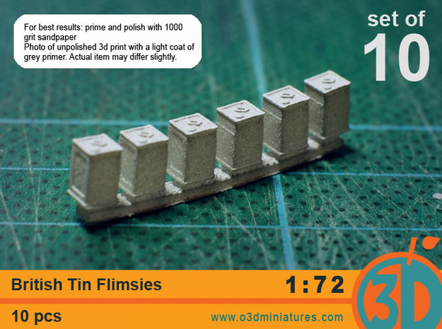 British Tin Flimsies 1/72 scale pack of 10 in Smooth Fine Detail Plastic