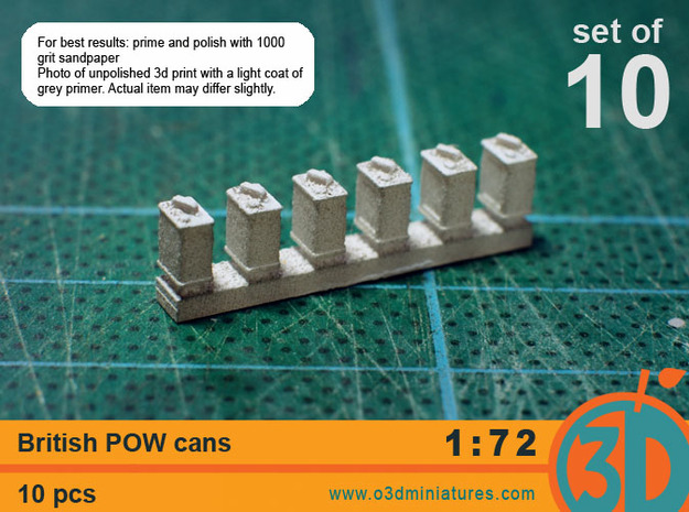 British POW cans 1/72 scale pack of 10 in Smooth Fine Detail Plastic
