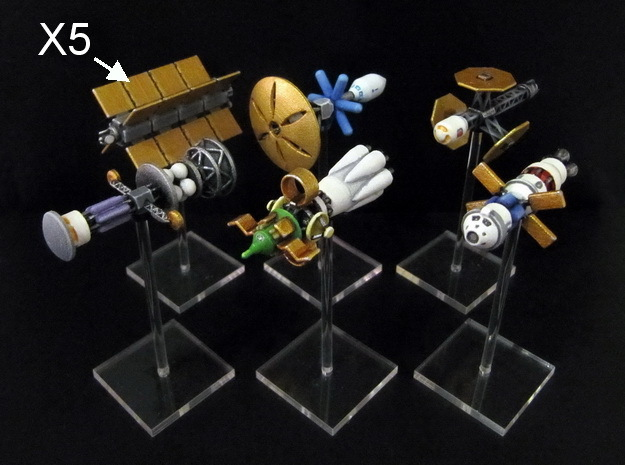 Spaceships (10 pcs) - High Frontier in White Strong & Flexible Polished