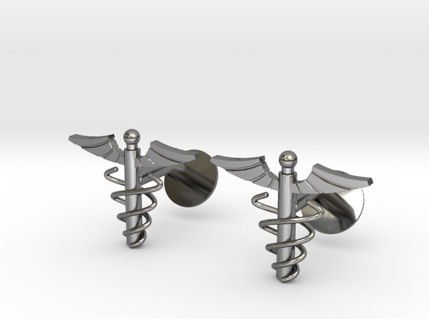 Doctor's Caduceus Cufflinks 3d printed