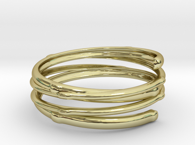 Branch ring(Japan 10,USA 5.5,Britain K) in 18k Gold Plated Brass