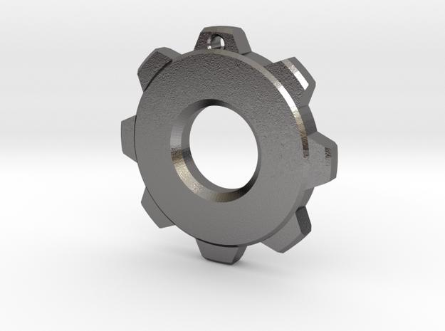 Gear Pendant in Polished Nickel Steel