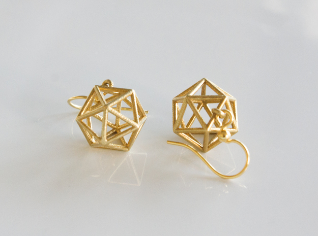Icosahedron Earrings in Natural Brass
