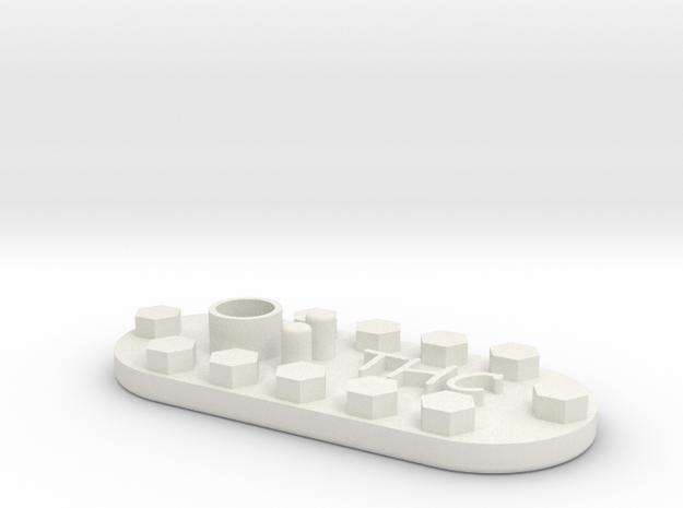 1/10 SCALE FUEL LID INSERT in White Natural Versatile Plastic
