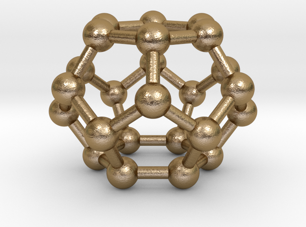 0002 Fullerene c24 d6d in Polished Gold Steel