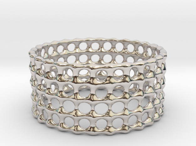 Lattice Ring No.3 in Rhodium Plated Brass