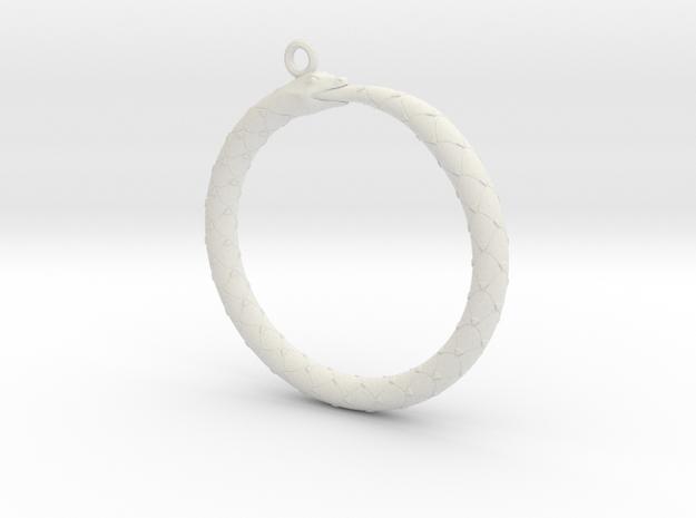 Ouroboros Pendant in White Strong & Flexible