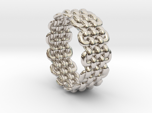 Wicker Pattern Ring Size 9 in Rhodium Plated