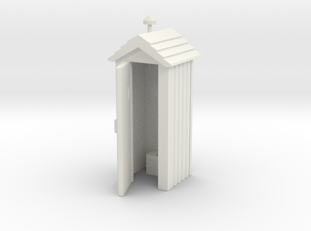 Outhouse Door Open - Qty (1) HO 87:1 Scale in White Natural Versatile Plastic