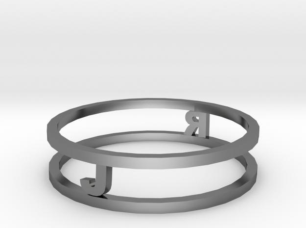 Ring with initials (19 mm diameter) in Premium Silver
