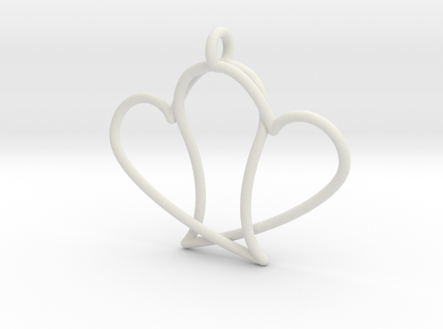 Double Heart in White Natural Versatile Plastic