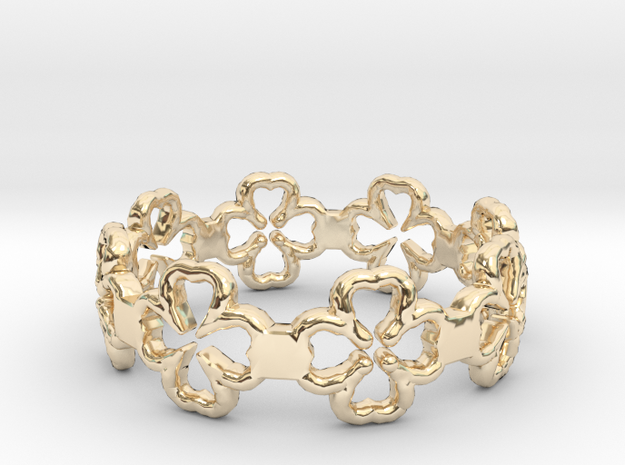 Beautiful Size 8 Lucky Clovers Ring in 14K Gold