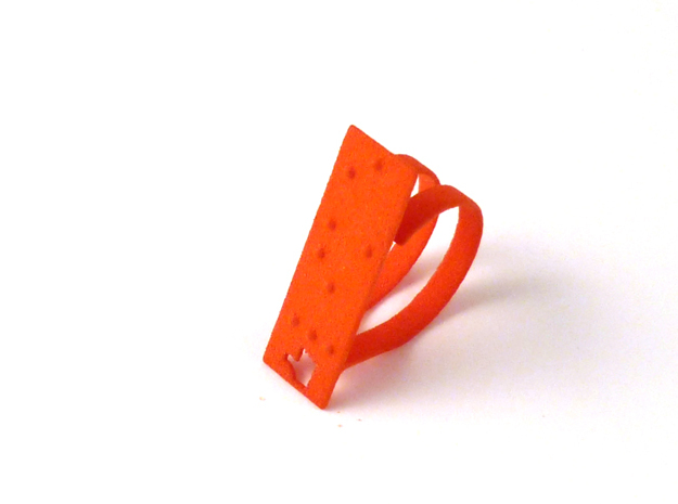 Adjustable ring. Like in Braille. in Orange Strong & Flexible Polished