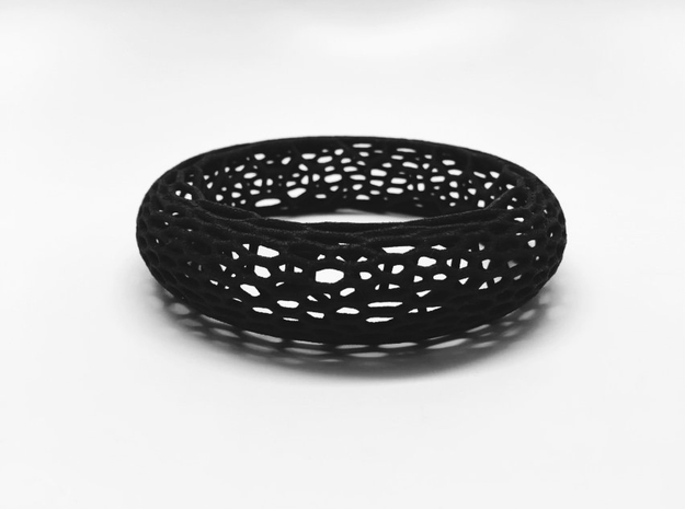Lattice Bangle in Black Natural Versatile Plastic: Small