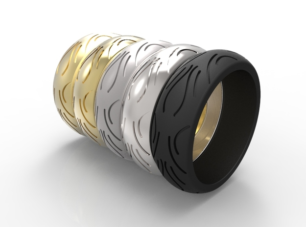 Motorcycle Low Profile Tire Tread Ring Size 12 in Black Natural Versatile Plastic