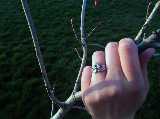 Triforce Claddagh Ring 3d printed Triforce Claddagh ring in Stainless Steel