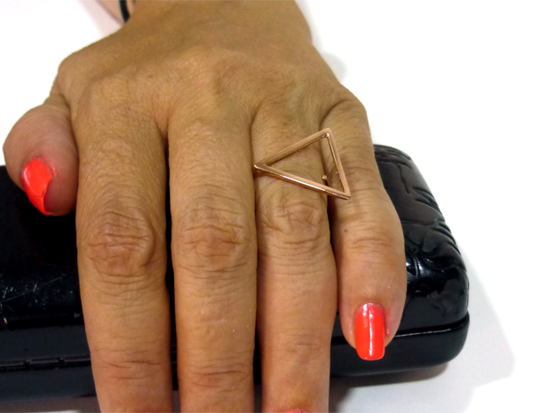 Triangle ring shape. in 14k Rose Gold Plated