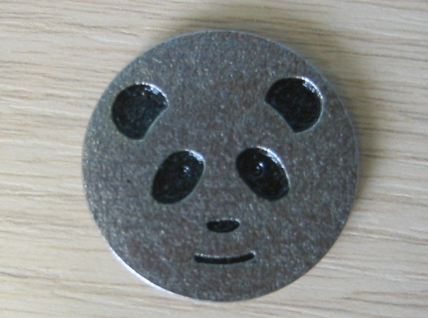 Panda coin - with no patterning in Polished Bronzed Silver Steel