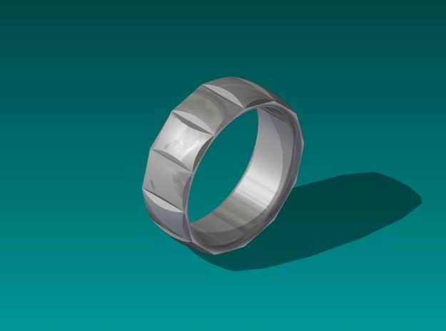 Dennis Ring-Size10 in Polished Bronzed Silver Steel