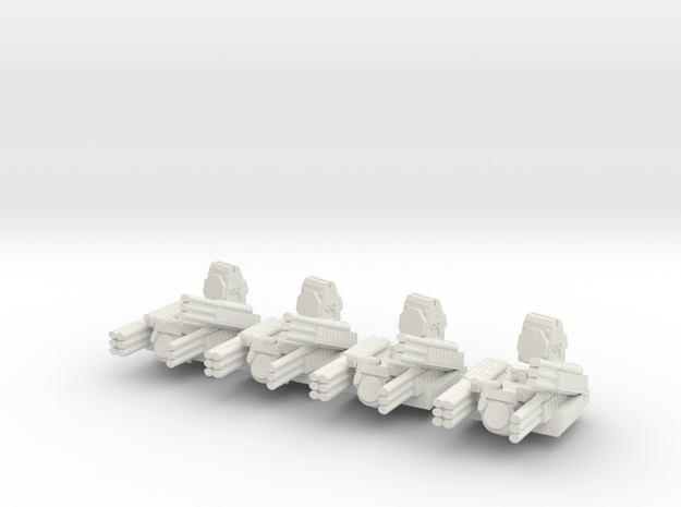 Pantsir S1 6mm Alternate Turrets Set of 4 in White Natural Versatile Plastic