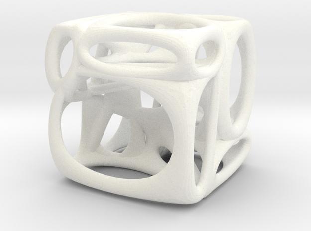 Voronoi Cube (002) in White Processed Versatile Plastic