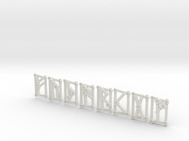 1st Aett - Futhark Nordic Rune Stones - 1 of 4 in White Natural Versatile Plastic