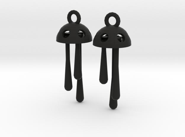 Three Short Drops Earrings in Black Natural Versatile Plastic