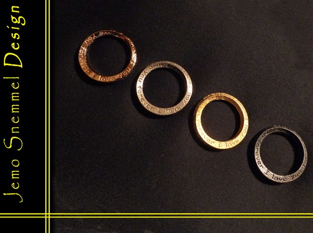 """Mobius ring """"I Love You Forever"""" Size 5 in 14K Yellow Gold"""