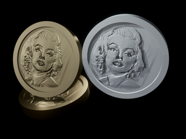 Marilyn Monroe Coin in White Natural Versatile Plastic