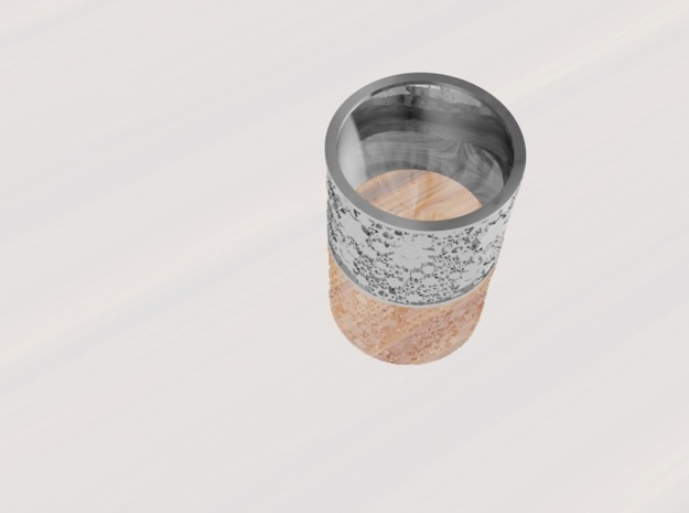 Gear Themed Band Ring: Size 9 in Polished Bronze Steel