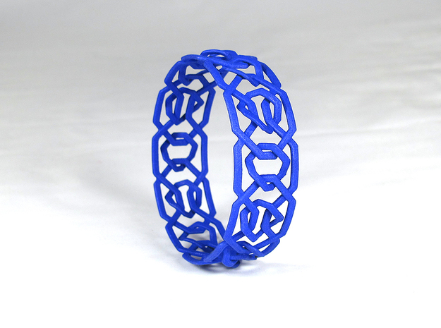 Dilly Design Interlaced Pattern Bangle in Blue Strong & Flexible Polished
