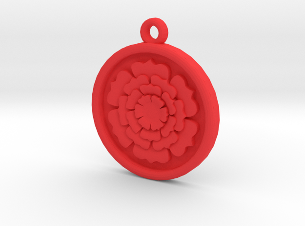 Rose Pendant For Shapeways in Red Processed Versatile Plastic