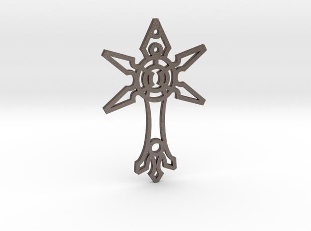 """""""X"""" Cross / Cruz en """"X"""" in Polished Bronzed Silver Steel"""