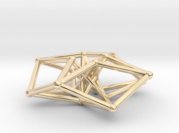 Toroidal Hypercube 35mm 1.5mm Time Traveller in 14k Gold Plated Brass
