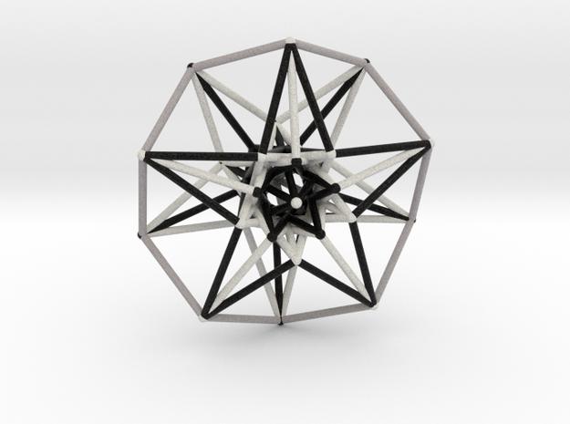 5D Hypercube Sacred Geometry B&W lg in Full Color Sandstone