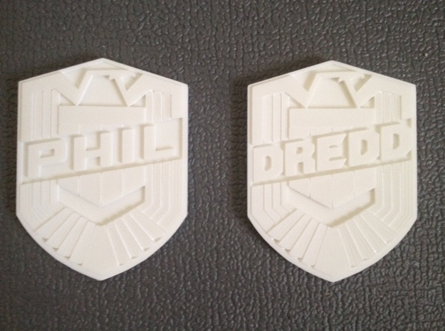 Dredd Badge with your name 1/1 Scale 3d printed