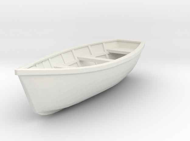 Wooden Boat  01. 1:24  Scale in White Strong & Flexible