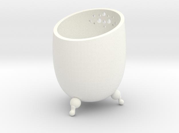 Small Pot  in White Processed Versatile Plastic