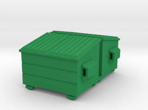 Dumpster - HO 87:1 Scale Qty (2) in Green Processed Versatile Plastic