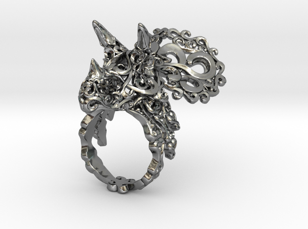 Tricera Ring (Size 6) in Polished Silver