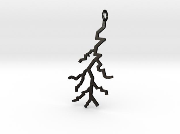 Lightning Pendant (Large) in Matte Black Steel
