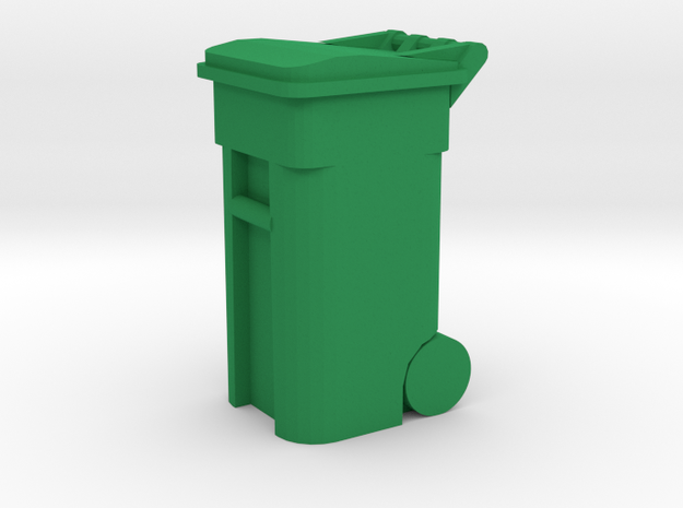 Trash Cart 64 gal - HO 87:1 Scale in Green Processed Versatile Plastic