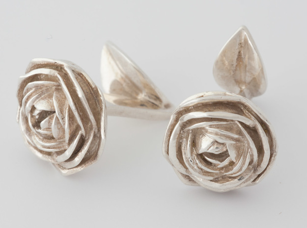 Rose Cufflinks in Fine Detail Polished Silver