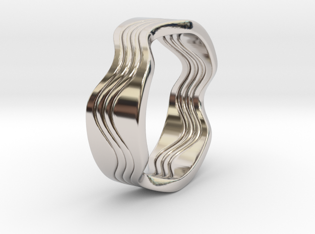Dave - US 6.75 - 17.12mm inside diameter Ring in Rhodium Plated Brass: 6.75 / 53.375