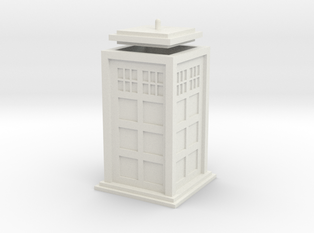 Tardis with lid in White Strong & Flexible