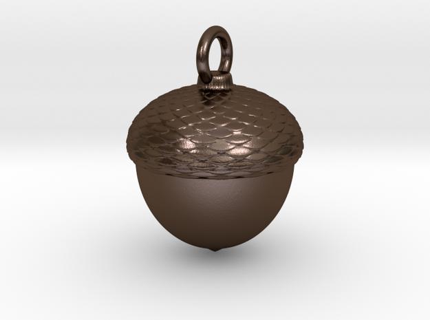 Acorn Charm in Polished Bronze Steel