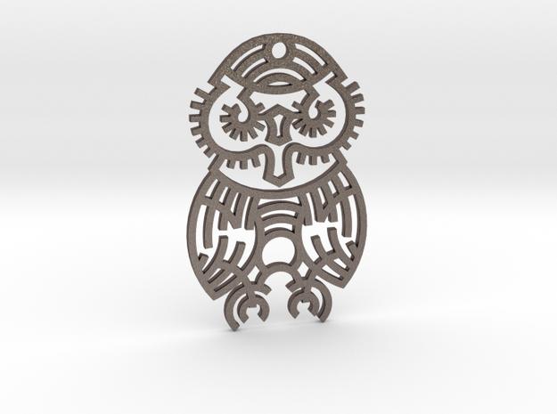 Owl / Búho in Polished Bronzed Silver Steel