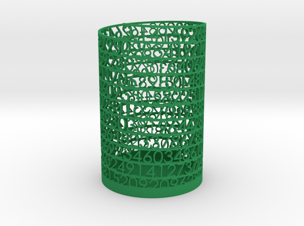 PI Pen and Pencil Holder - Tall in Green Processed Versatile Plastic