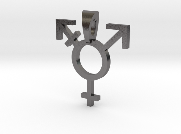 Transgender Pride Symbol Pendant in Polished Nickel Steel